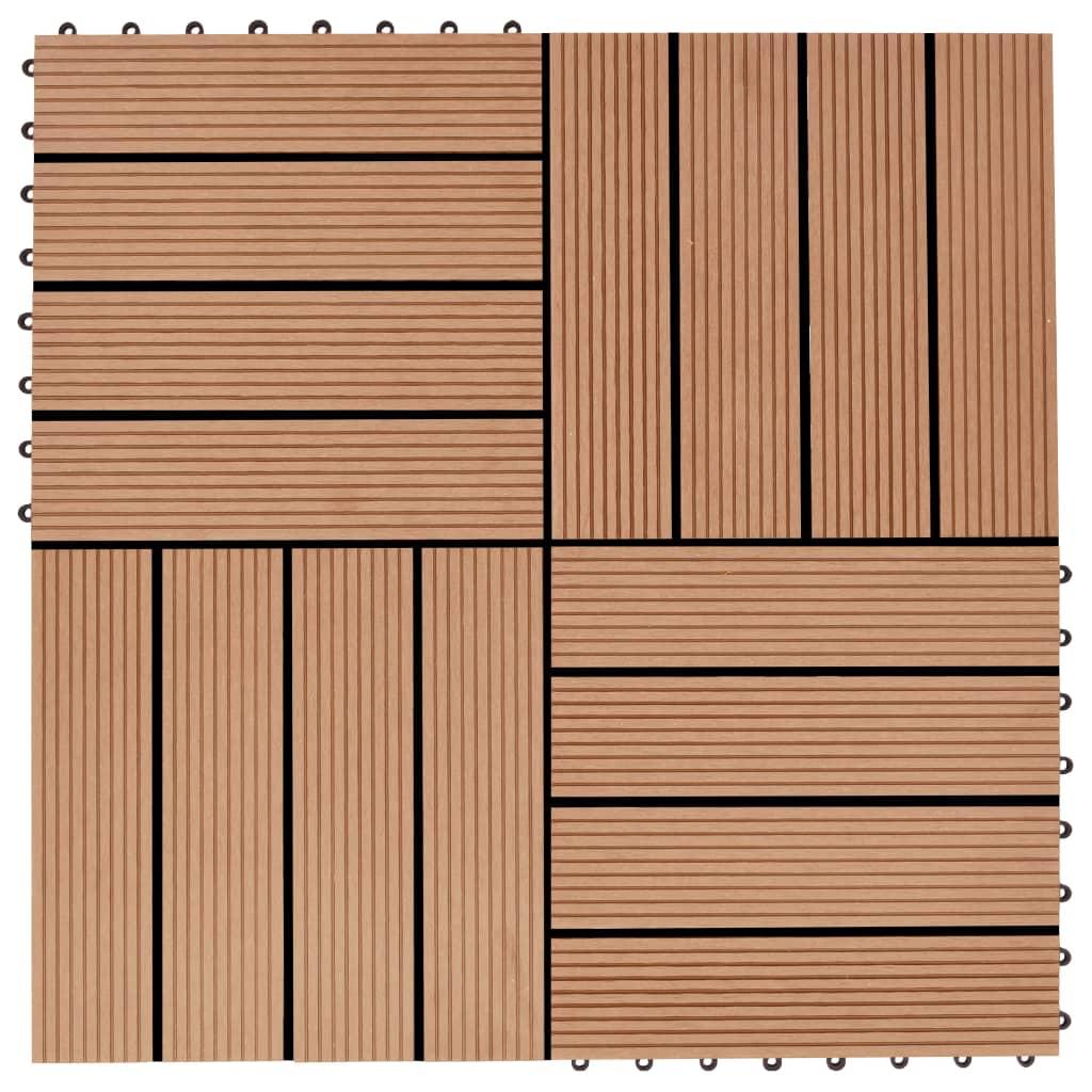 vidaXL Terasové dlaždice z dřevoplastu 11 ks 30x30 cm 1 m² odstín teak