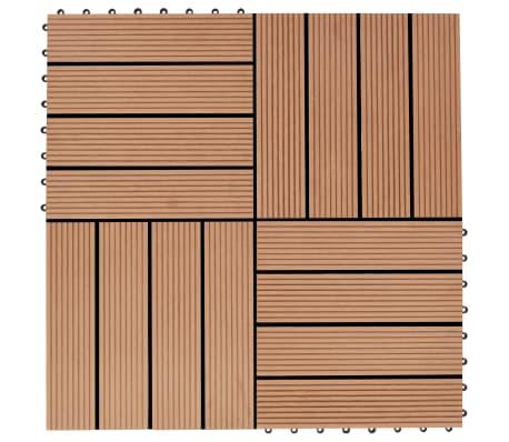vidaXL Grindų plytelės, 11 vnt., tikmedžio spalvos, 30x30 cm, 1m², WPC[1/6]