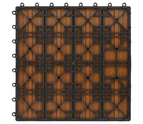 vidaXL Grindų plytelės, 11 vnt., tikmedžio spalvos, 30x30 cm, 1m², WPC[6/6]