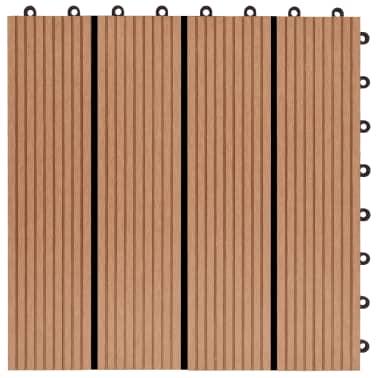 vidaXL Grindų plytelės, 11 vnt., tikmedžio spalvos, 30x30 cm, 1m², WPC[5/6]