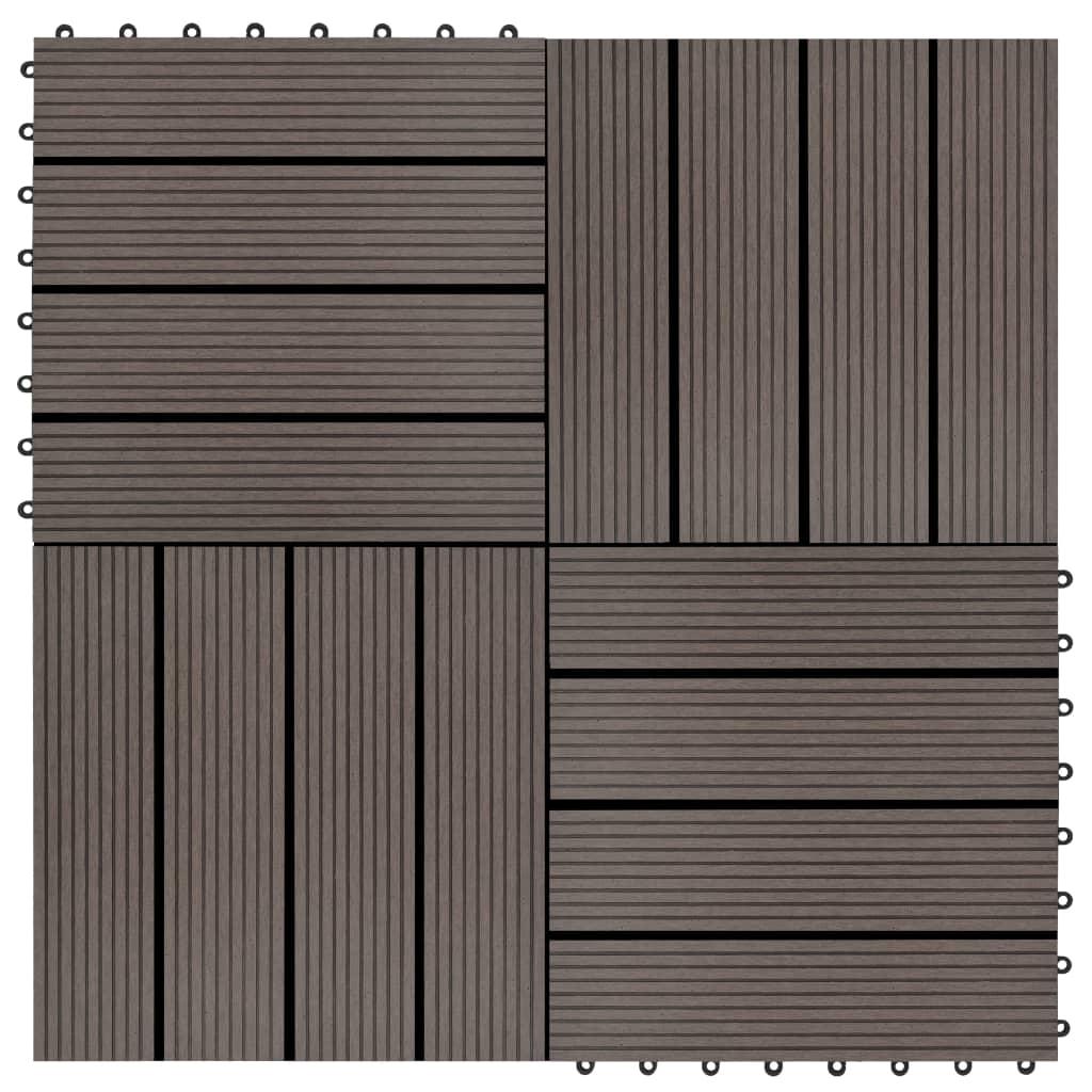 Terasové dlaždice z dřevoplastu 11 ks 30x30 cm 1 m² tmavě hnědé