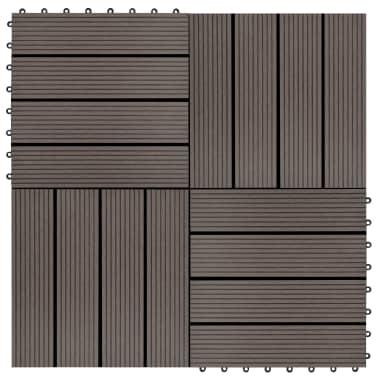 vidaXL Grindų plytelės, 11 vnt., tamsiai rudos, 30x30 cm, 1m², WPC[1/6]