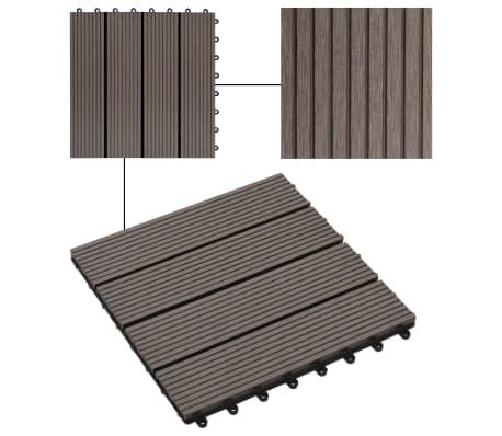 vidaXL Grindų plytelės, 11 vnt., tamsiai rudos, 30x30 cm, 1m², WPC[4/6]