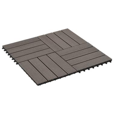 vidaXL Grindų plytelės, 11 vnt., tamsiai rudos, 30x30 cm, 1m², WPC[2/6]
