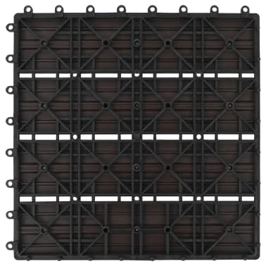 vidaXL Grindų plytelės, 11 vnt., tamsiai rudos, 30x30 cm, 1m², WPC[6/6]