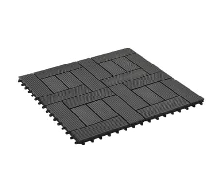 vidaXL Grindų plytelės, 11vnt., juodos spalvos, 30x30cm, 1m², WPC[2/6]
