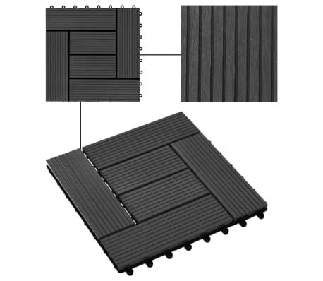 vidaXL Grindų plytelės, 11vnt., juodos spalvos, 30x30cm, 1m², WPC[4/6]