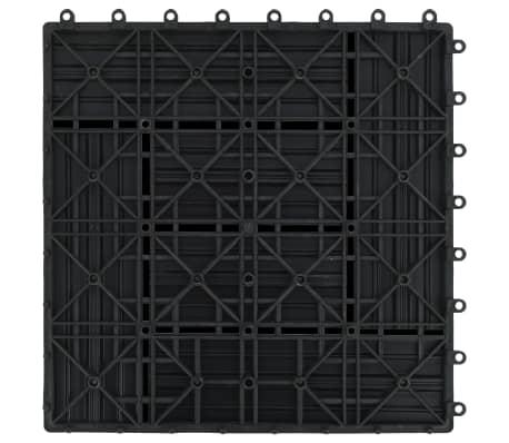 vidaXL Grindų plytelės, 11vnt., juodos spalvos, 30x30cm, 1m², WPC[6/6]
