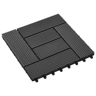 vidaXL Grindų plytelės, 11vnt., juodos spalvos, 30x30cm, 1m², WPC[3/6]