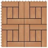 vidaXL Grindų plytelės, 11 vnt., tikmedžio spalvos, 30x30 cm, 1m², WPC