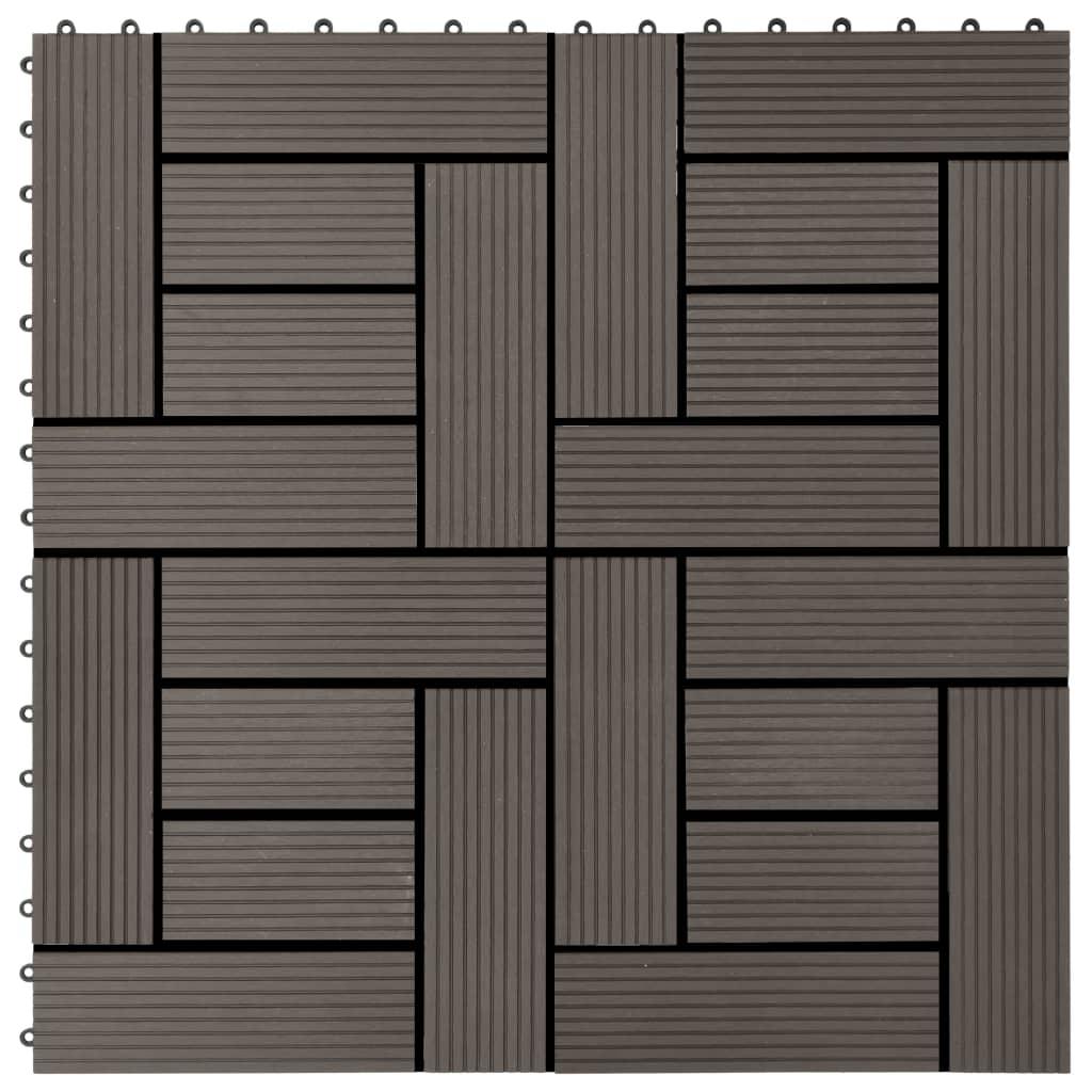 vidaXL Terasové dlaždice z dřevoplastu 11 ks 30x30 cm 1 m² tmavě hnědé