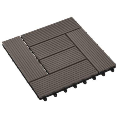 vidaXL Grindų plytelės, 11 vnt., tamsiai rudos, 30x30 cm, 1m², WPC[3/6]