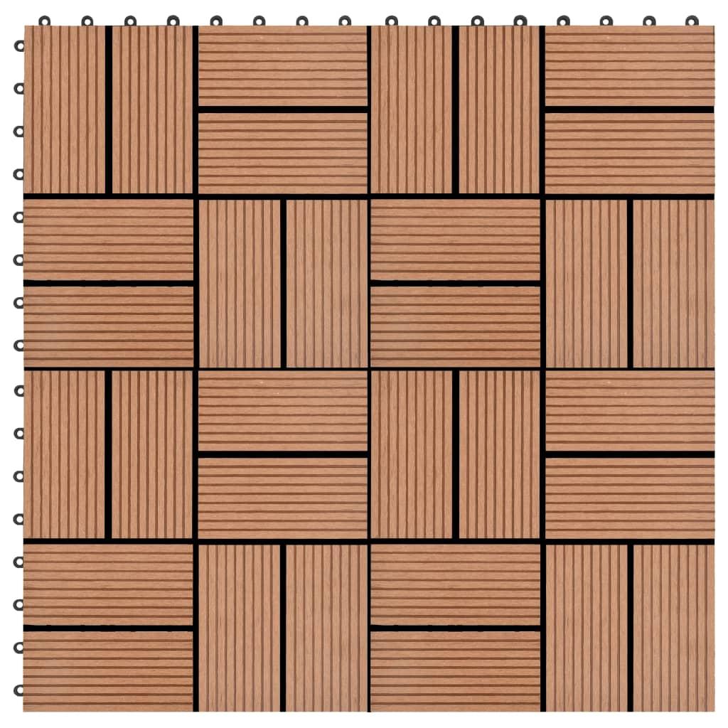 Terasové dlaždice 11 ks 30 x 30 cm WPC 1 m² hnědé