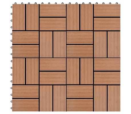 vidaXL Lattialaatat 11 kpl WPC 30x30 cm 1 m² ruskea[1/6]