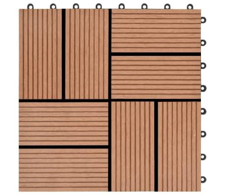 vidaXL Lattialaatat 11 kpl WPC 30x30 cm 1 m² ruskea[5/6]