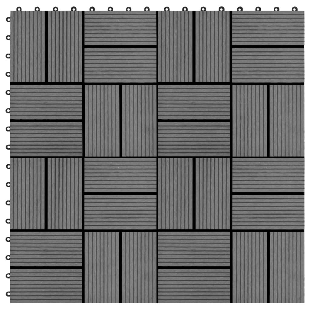 Terasové dlaždice z dřevoplastu 11 ks 30 x 30 cm 1 m² šedé