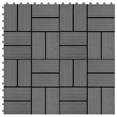 vidaXL Grindų plytelės, 11vnt., pilkos spalvos, 30x30cm, 1m², WPC[1/6]
