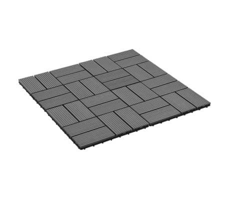 vidaXL Grindų plytelės, 11vnt., pilkos spalvos, 30x30cm, 1m², WPC[2/6]