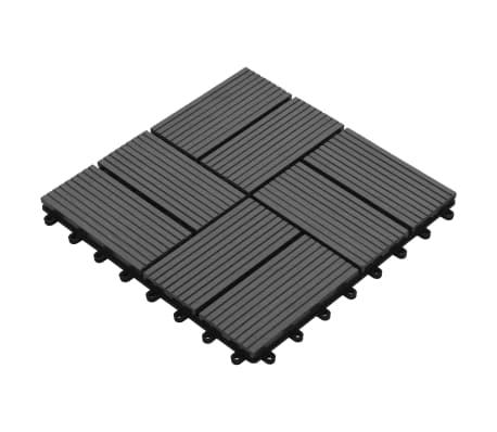vidaXL Grindų plytelės, 11vnt., pilkos spalvos, 30x30cm, 1m², WPC[3/6]
