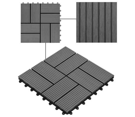 vidaXL Grindų plytelės, 11vnt., pilkos spalvos, 30x30cm, 1m², WPC[4/6]