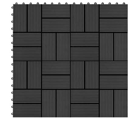 vidaXL Grindų plytelės, 11vnt., juodos spalvos, 30x30cm, 1m², WPC[1/6]