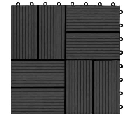 vidaXL Grindų plytelės, 11vnt., juodos spalvos, 30x30cm, 1m², WPC[5/6]
