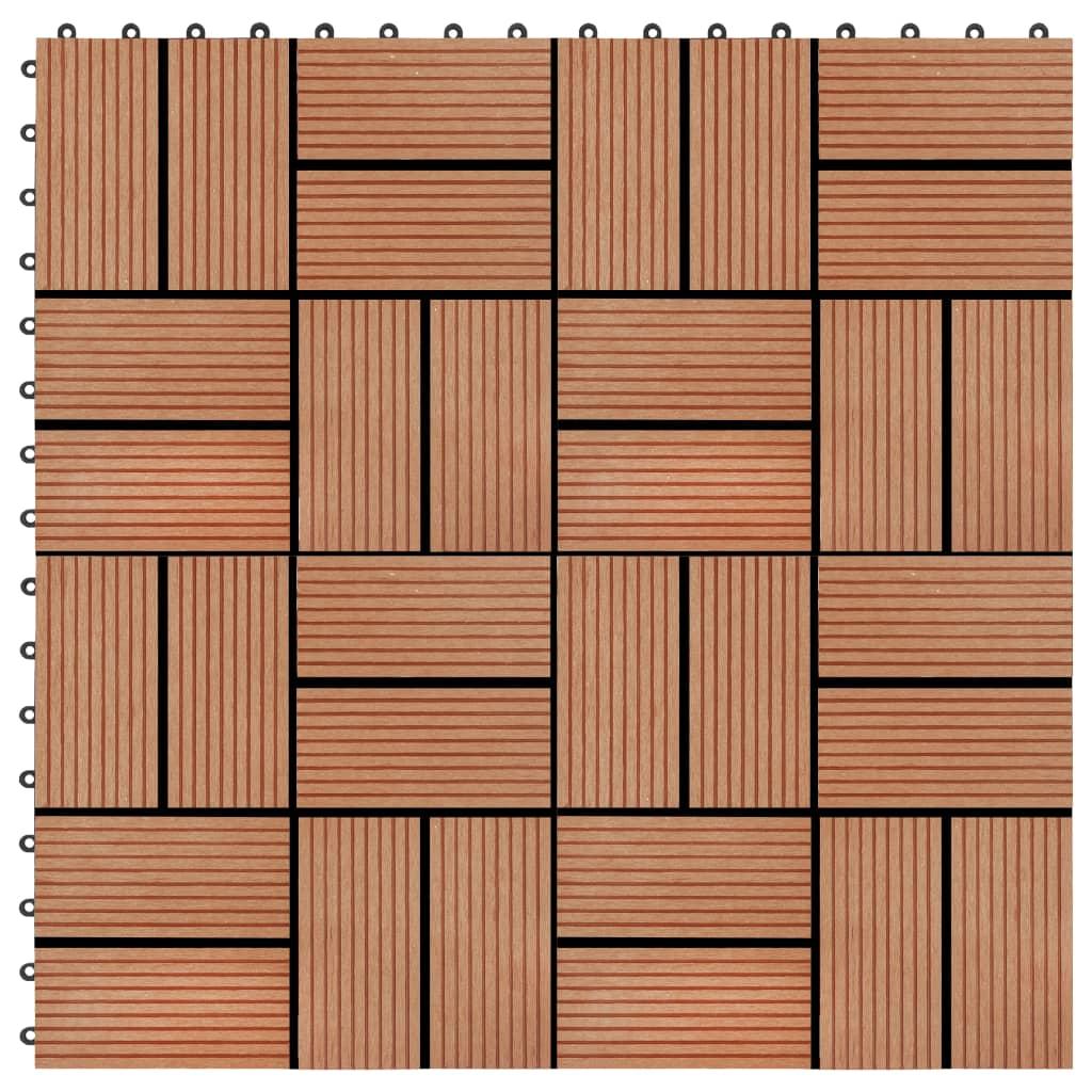 Terasové dlaždice z dřevoplastu 11 ks 30x30 cm 1 m² odstín teak