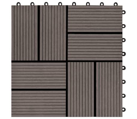 vidaXL Grindų plytelės, 11 vnt., tamsiai rudos, 30x30 cm, 1m², WPC[5/6]