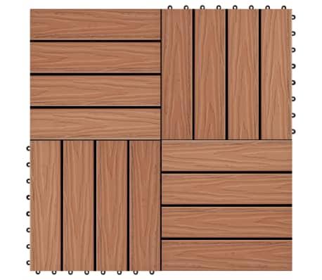 vidaXL terases flīzes, 11 gab., WPC, 30x30 cm, 1 m2, gaiši brūnas