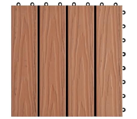 vidaXL terases flīzes, 11 gab., WPC, 30x30 cm, 1 m2, gaiši brūnas[5/6]