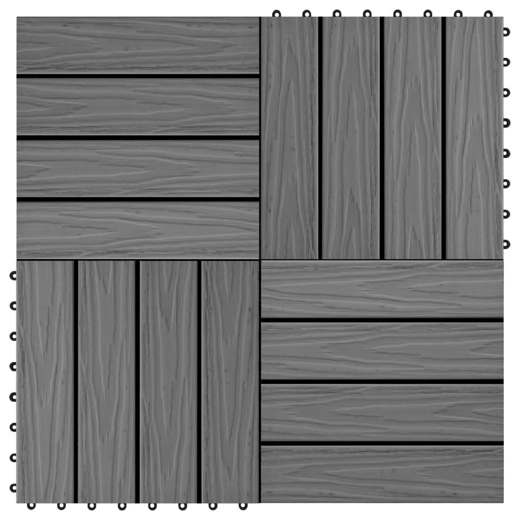 vidaXL Terasové dlaždice 11 ks WPC embosované 30 x 30 cm 1 m² šedé