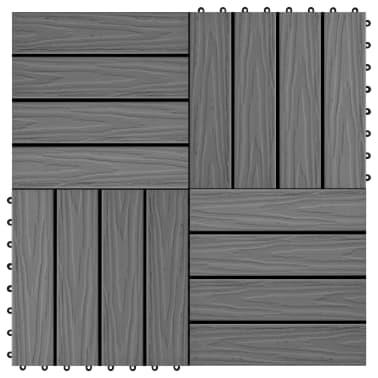 vidaXL Carreau de terrasse en relief 11 pcs WPC 30 x 30 cm 1 m² Gris[1/6]