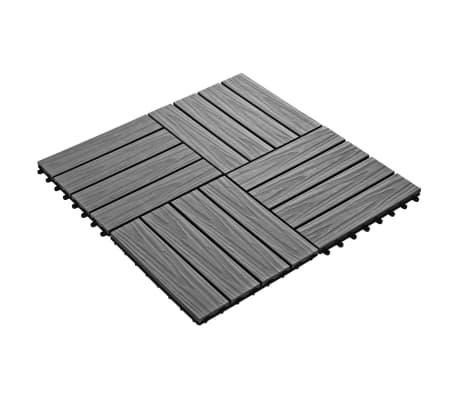 vidaXL Carreau de terrasse en relief 11 pcs WPC 30 x 30 cm 1 m² Gris[2/6]