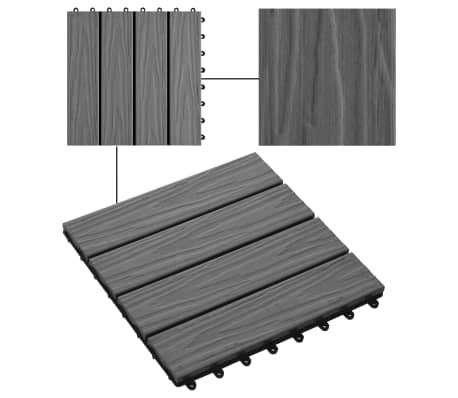 vidaXL Carreau de terrasse en relief 11 pcs WPC 30 x 30 cm 1 m² Gris[4/6]