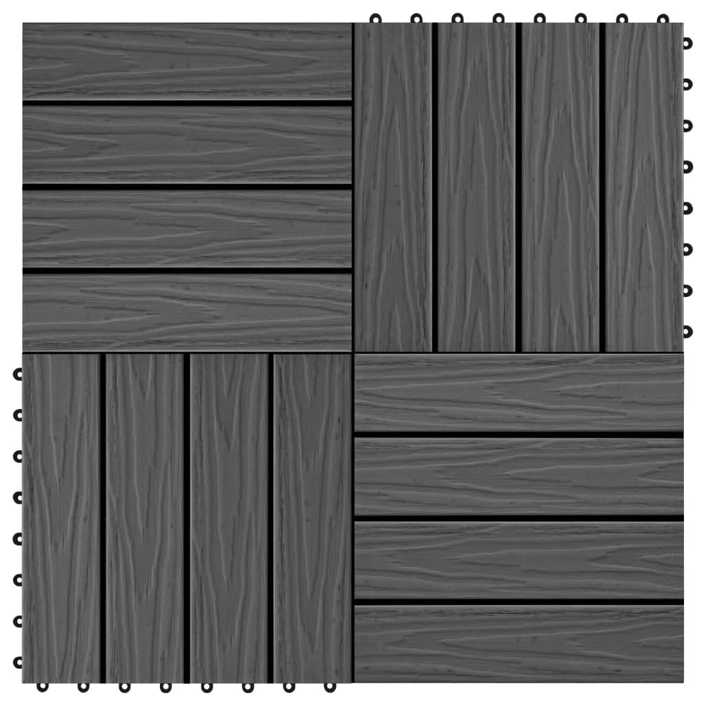 vidaXL Terasové dlaždice 11 ks WPC embosované 30 x 30 cm 1 m² černé