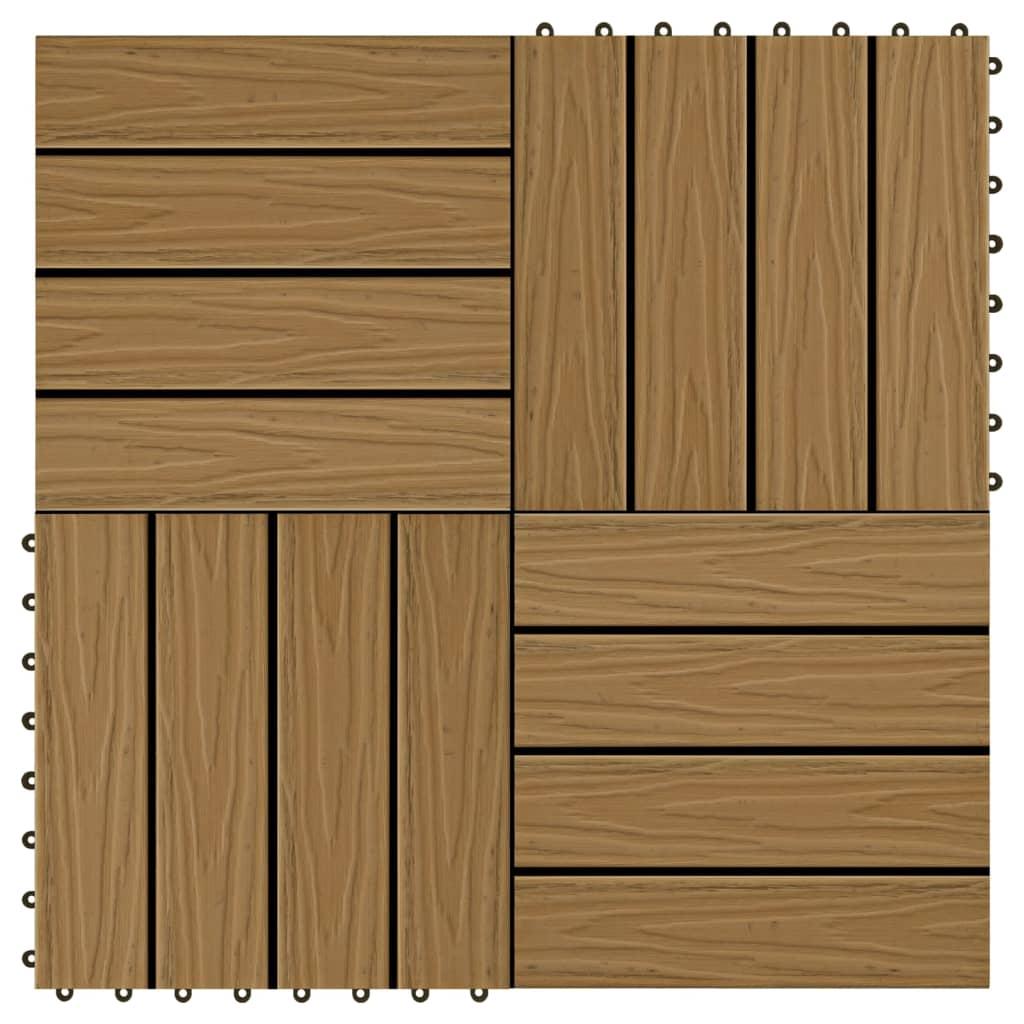 Terasové dlaždice 11 ks WPC embosované 30x30cm 1 m² odstín teak