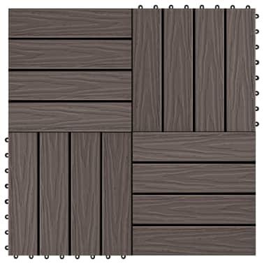 vidaXL Baldosas porche relieve profundo WPC 1 m² marrón oscuro 11 uds[1/6]