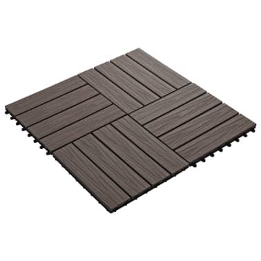 vidaXL Baldosas porche relieve profundo WPC 1 m² marrón oscuro 11 uds[2/6]