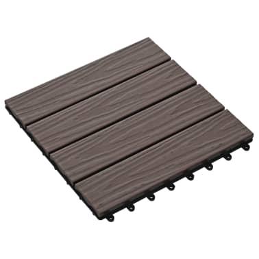 vidaXL Baldosas porche relieve profundo WPC 1 m² marrón oscuro 11 uds[3/6]