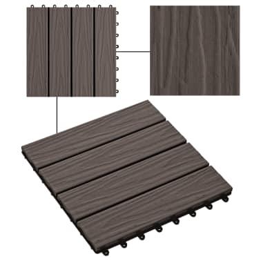 vidaXL Baldosas porche relieve profundo WPC 1 m² marrón oscuro 11 uds[4/6]