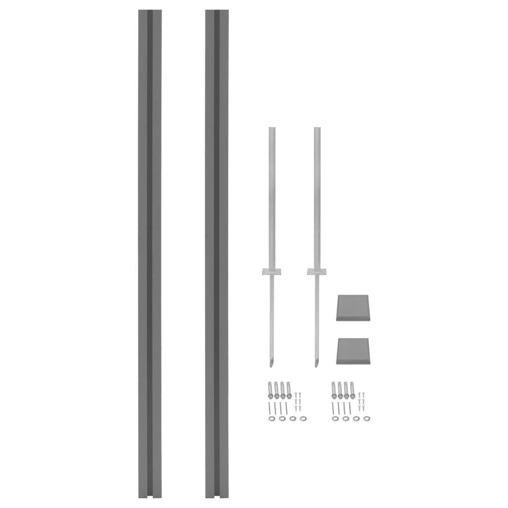 vidaXL Stâlpi pentru gard, 2 buc., 185 cm, WPC poza vidaxl.ro