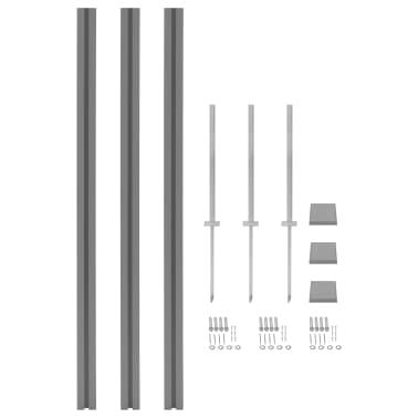 vidaXL rezerves žoga stabi, 3 gab., pelēks WPC, 185 cm[1/17]