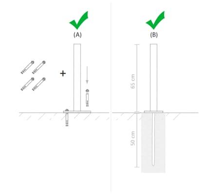 vidaXL rezerves žoga stabi, 3 gab., pelēks WPC, 185 cm[14/17]