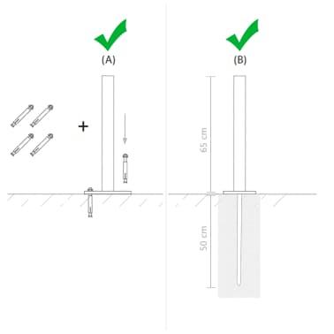 vidaXL Vervangende poten 115 cm staal zilver 2 st[8/9]