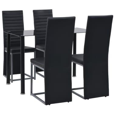 vidaXL Valg. baldų komp., 5d., juod. sp., dirbt. oda, plien. ir stikl.[1/8]