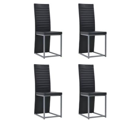vidaXL Valg. baldų komp., 5d., juod. sp., dirbt. oda, plien. ir stikl.[2/8]