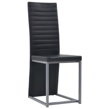 vidaXL Valg. baldų komp., 5d., juod. sp., dirbt. oda, plien. ir stikl.[3/8]