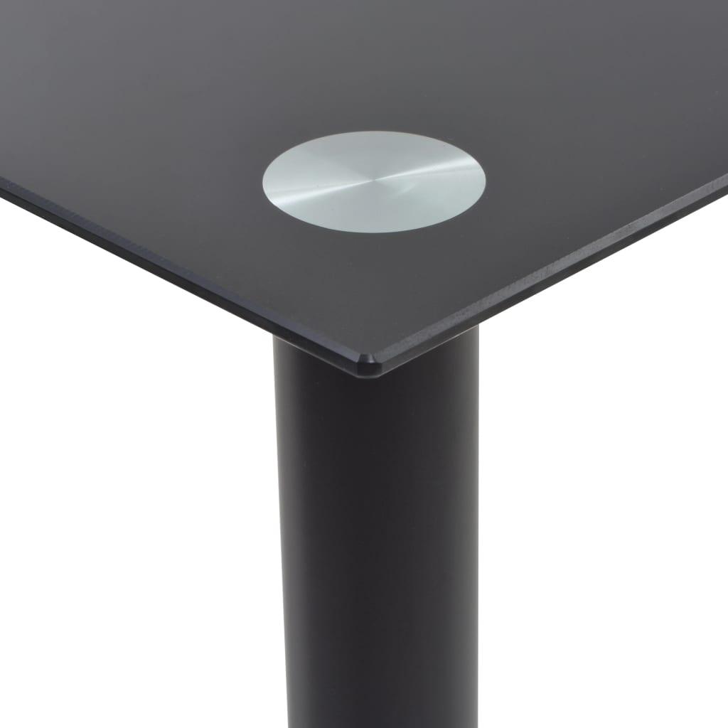 vidaXL Eetkamerset staal en gehard glas zwart 7-delig