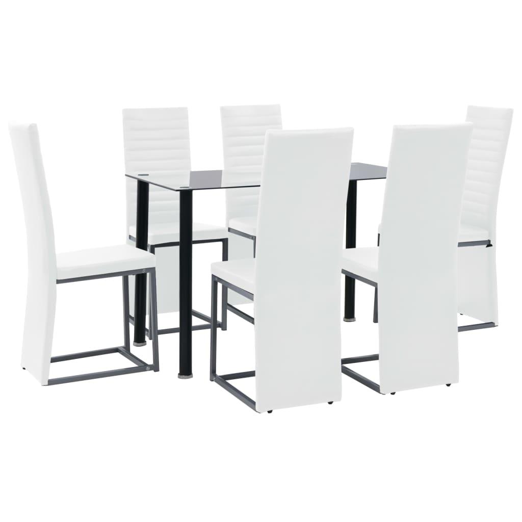 vidaXL Eetkamerset staal en gehard glas zwart en wit 7-delig