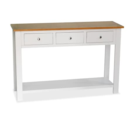 vidaXL Konzolový stolík 118x35x77 cm, dubový masív